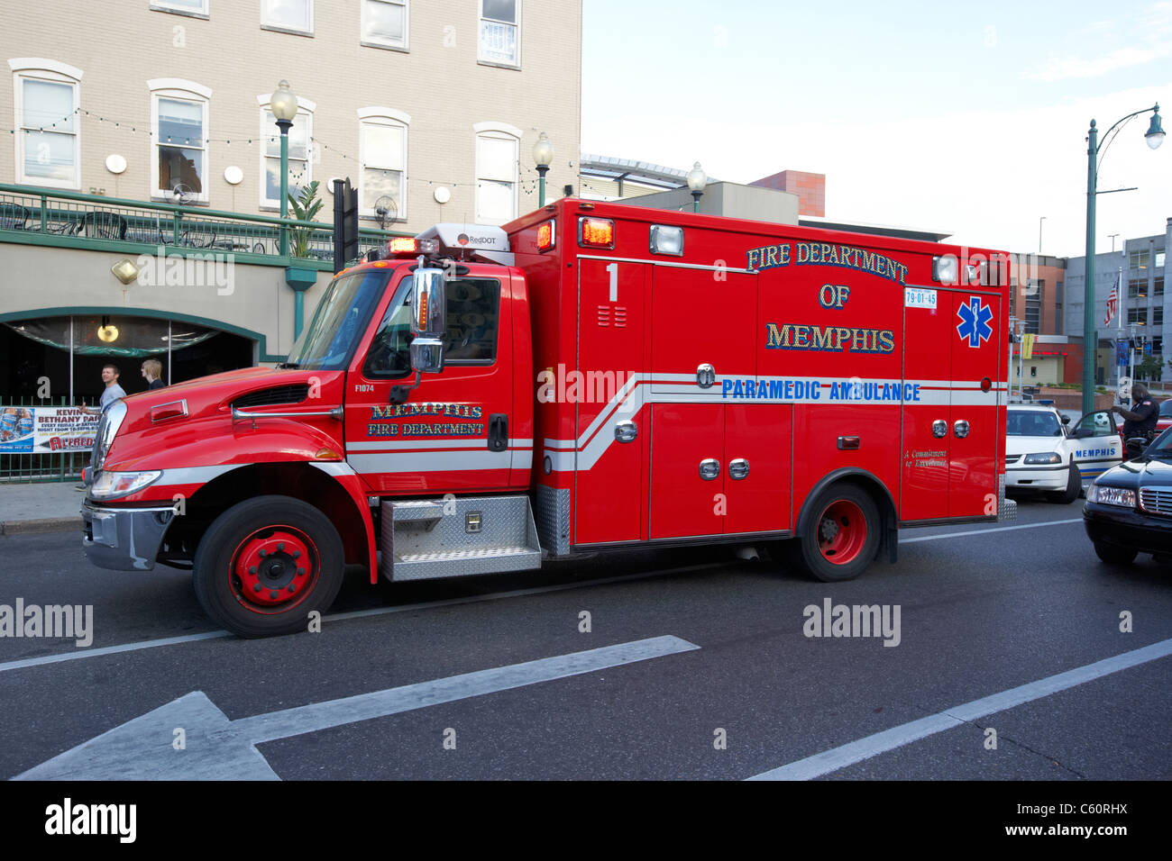 fire department of memphis paramedic ambulance tennessee united states america usa - Stock Image