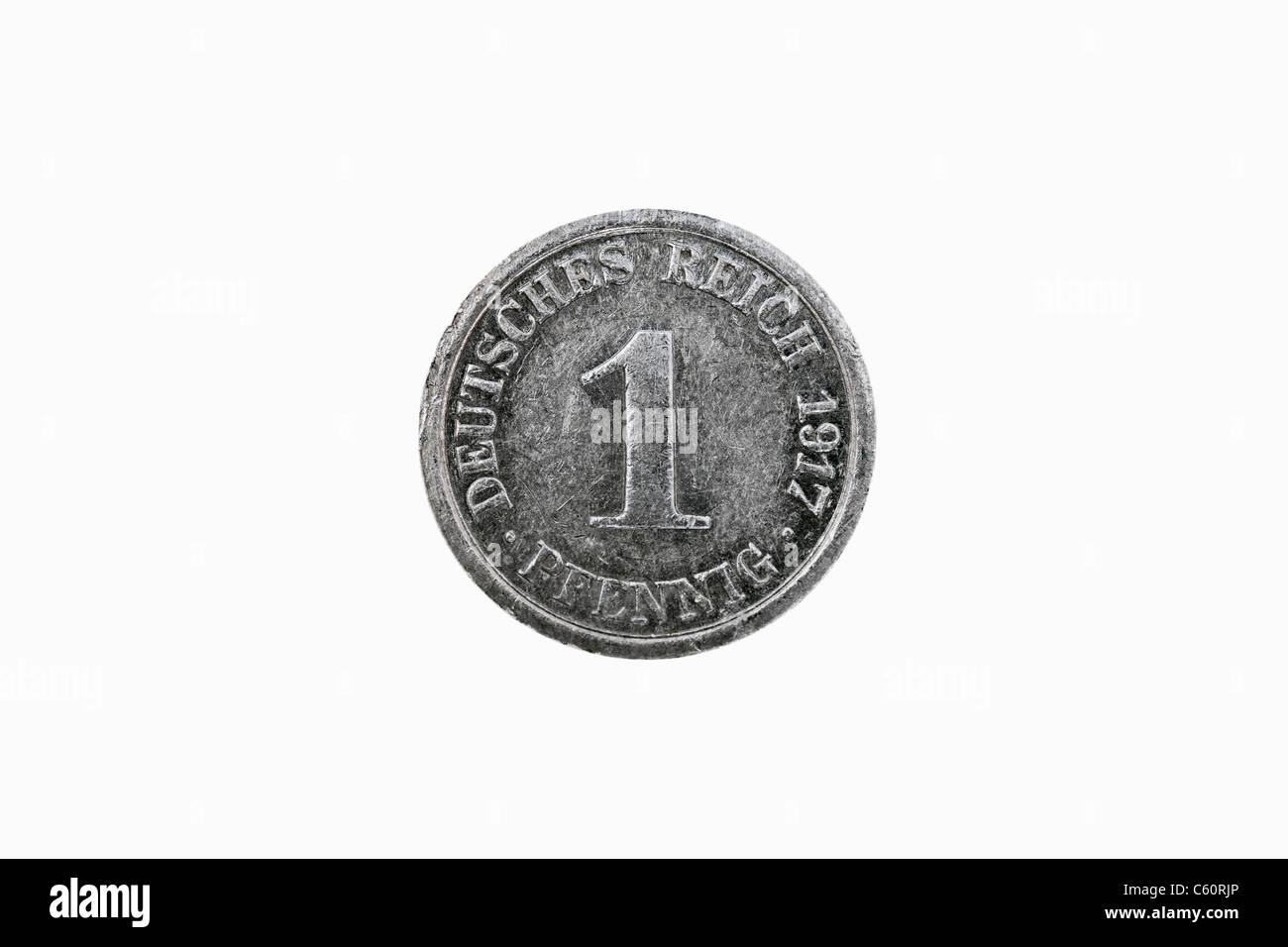 Detail photo of a 1 Pfennig coin of the German Reich from the year 1917 - Stock Image