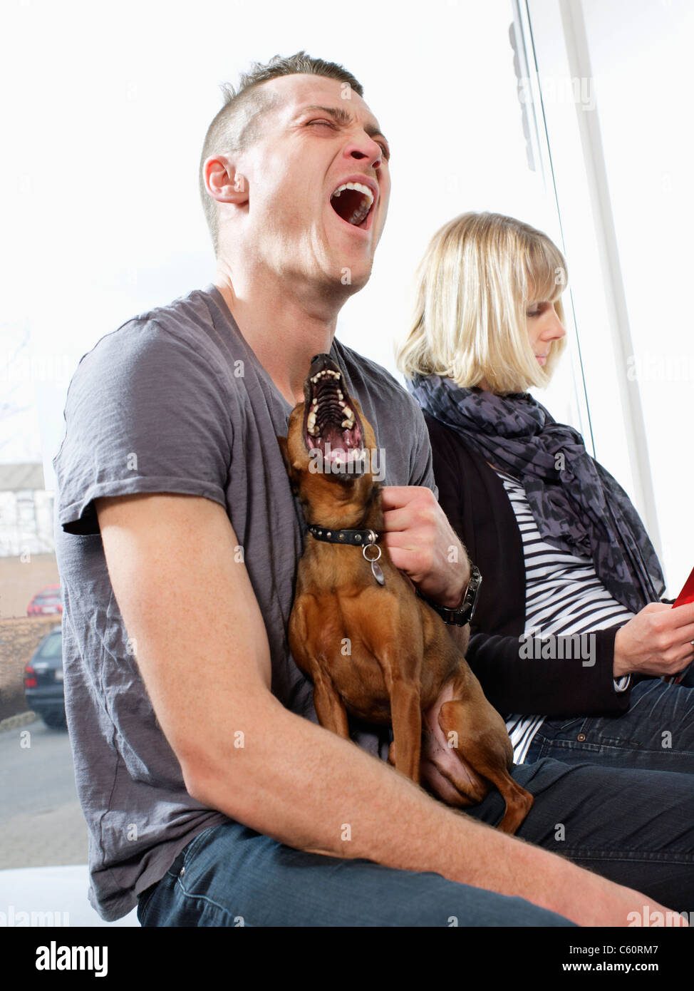 Man and dog howling together - Stock Image