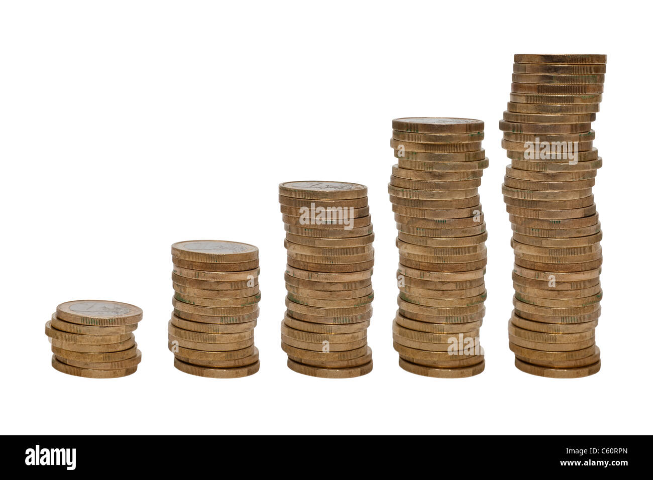 five different high stacks with euro coins next to each other - Stock Image