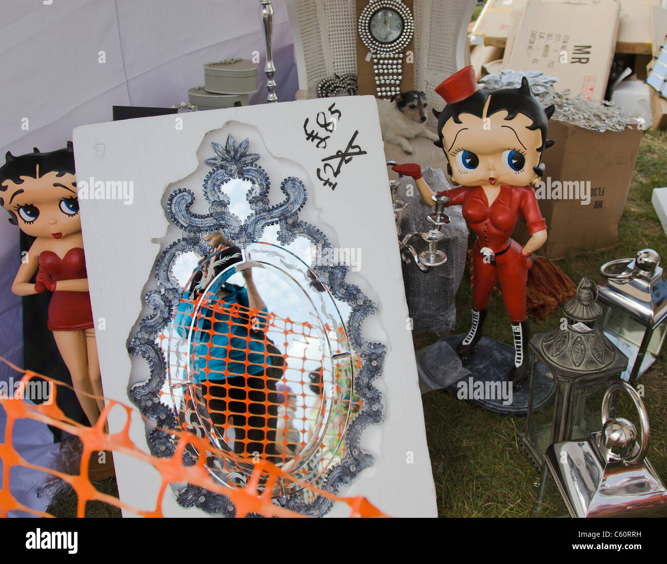 Bric a brac, mirror, Epsom Races, stall Betty Boop, reflection - Stock Image