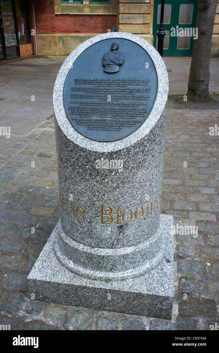 Monument to Steve Bloomer a high scoring footballer Lock Up Yard Derby UK - Stock Image