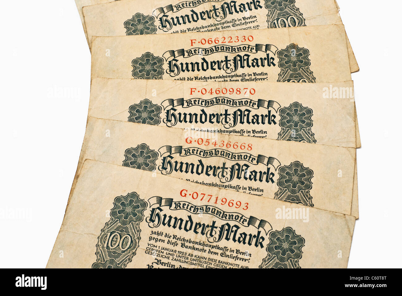 Detail photo of some old German bills of August 4th 1922 about the amount of one hundred reichsmarks Stock Photo