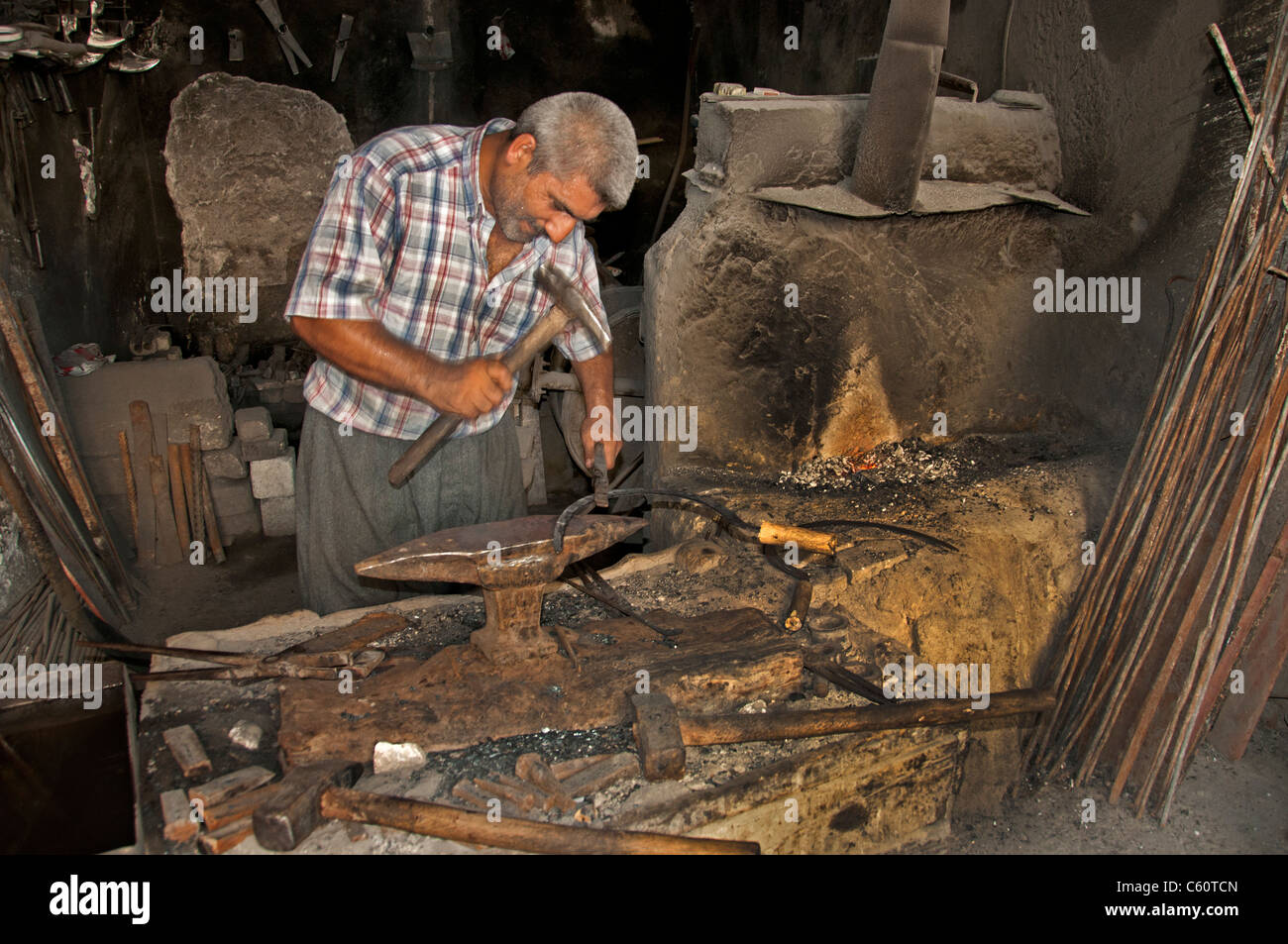 Silifke Turkey Turkish Blacksmith smith forge smithy - Stock Image