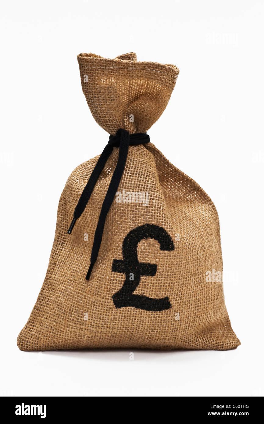 Detailansicht eines Geldsackes mit Pfund-Symbol | Detail photo from a money bag with pound sign - Stock Image