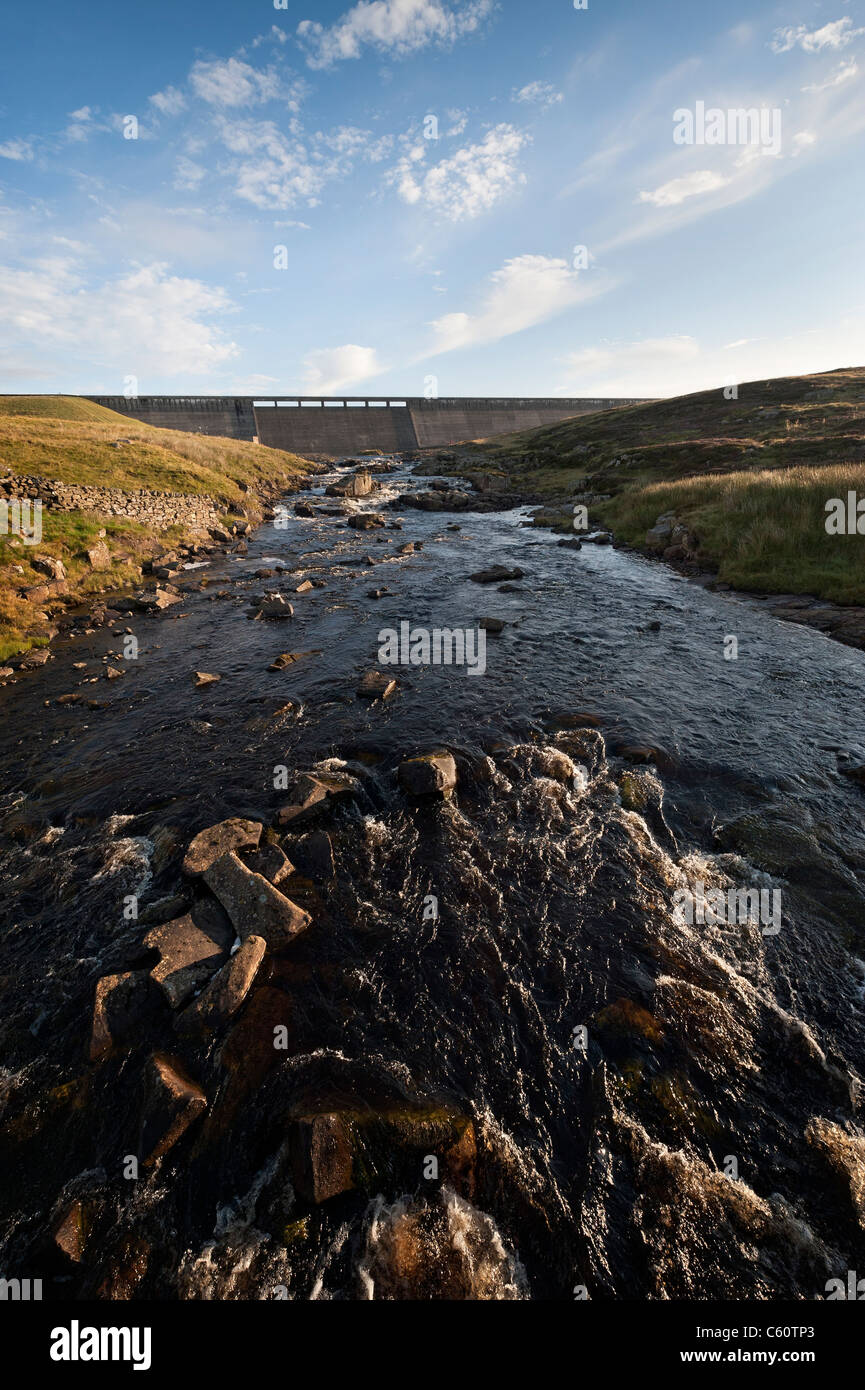 The upper reaches of the River Tees flowing out from the dam at Cow Green - Stock Image