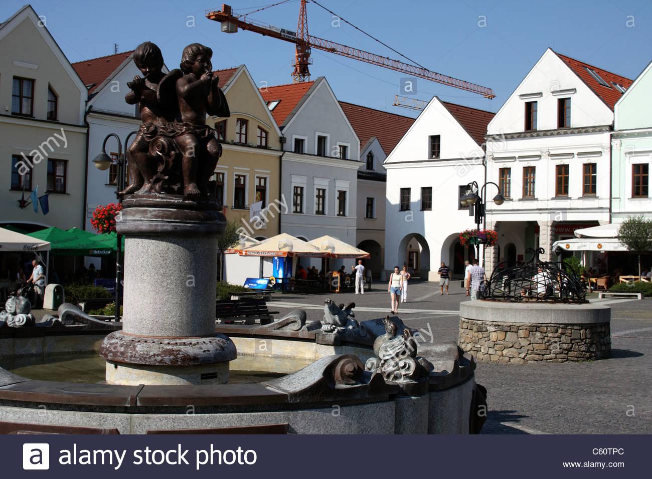 Main public square, Mariánske námestie, in Žilina, Slovakia - Stock Image