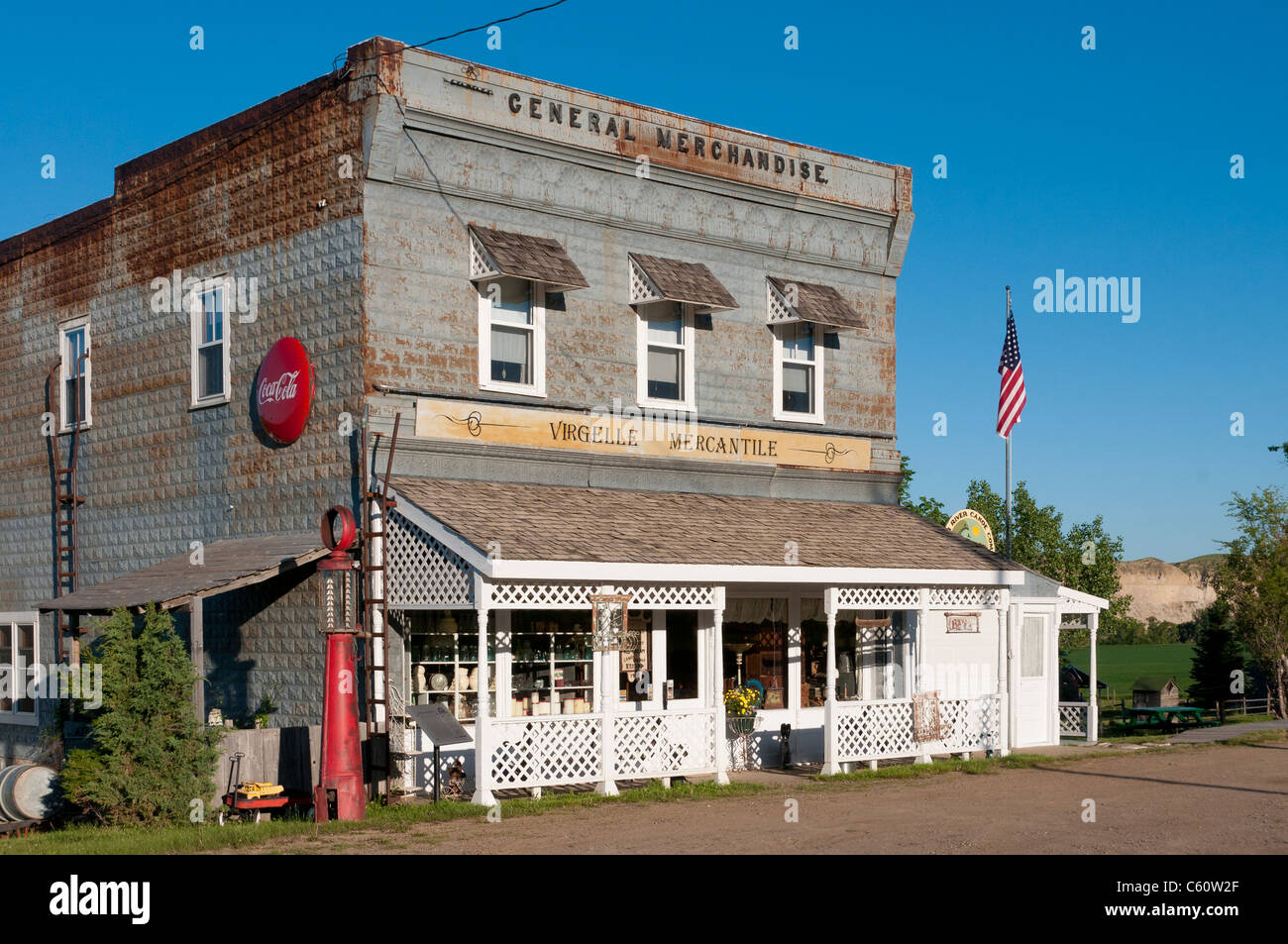 Virgelle Mercantile antiques store and inn; Virgelle, Montana. - Stock Image