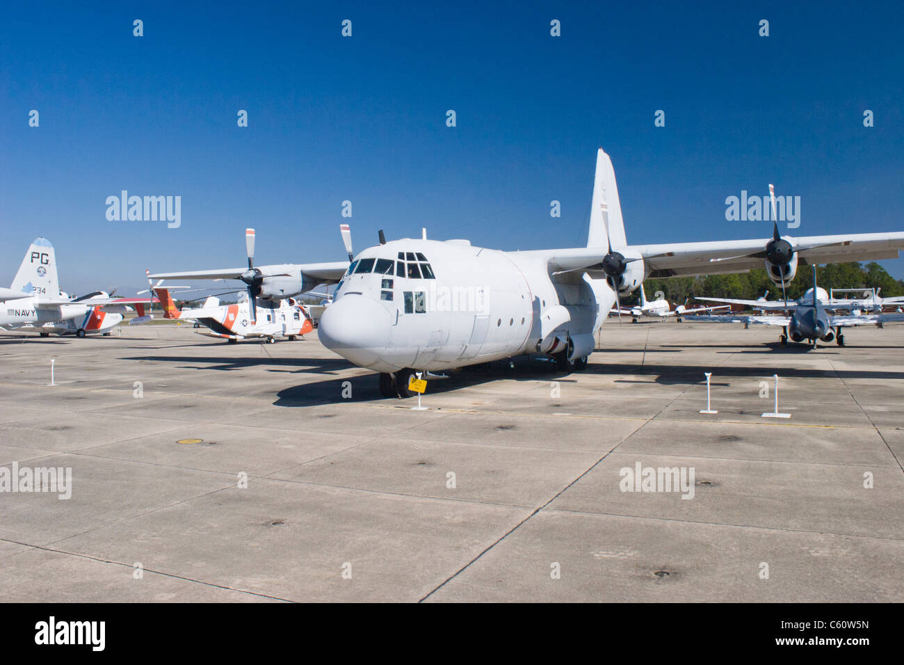 1954 C-130 Hercules transport cargo airplane at the Naval Air Museum in Pensacola, Florida - home of the Blue Angels. - Stock Image