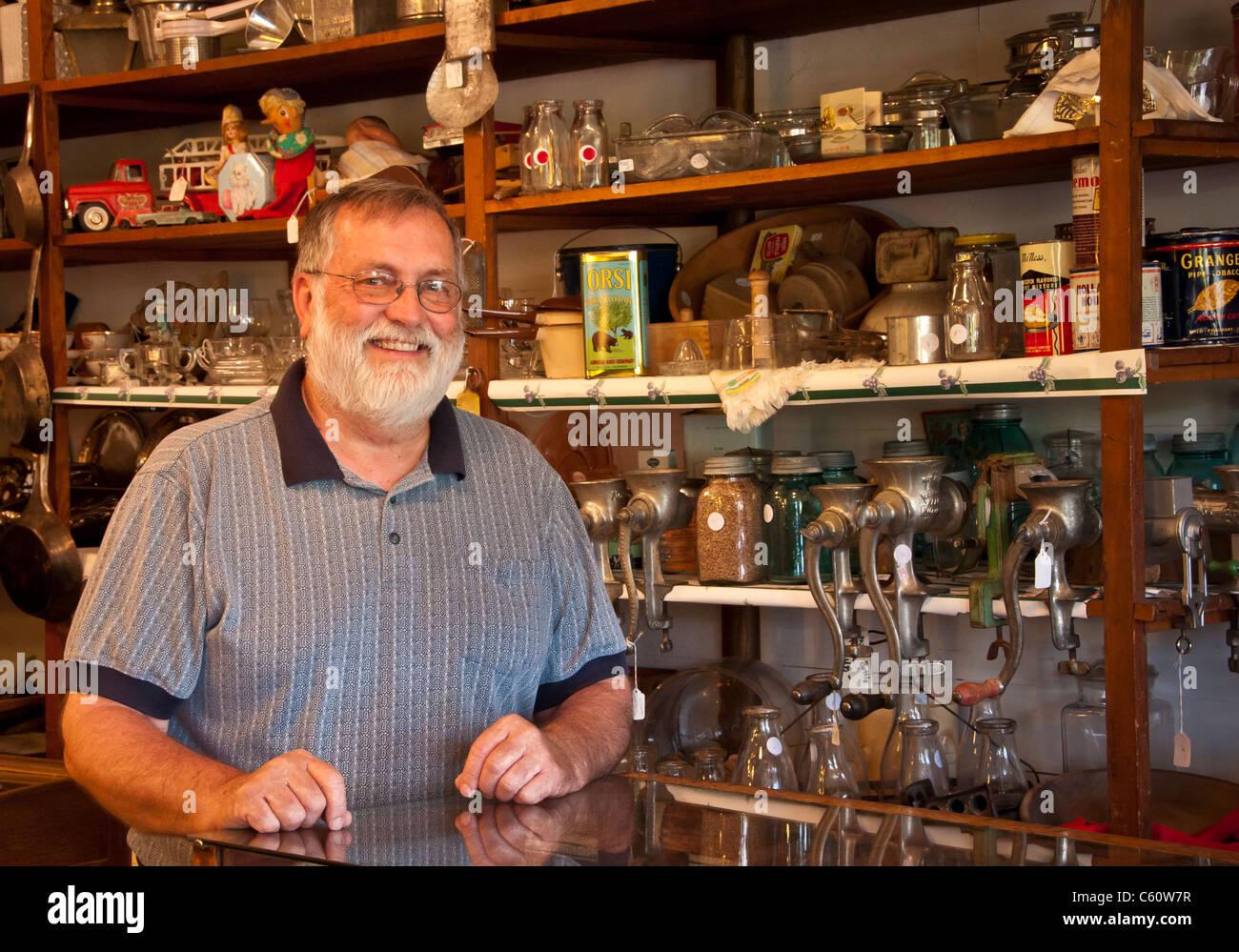 Virgelle Mercantile owner and antiques dealer Don Sorenson; Virgelle, Montana. - Stock Image