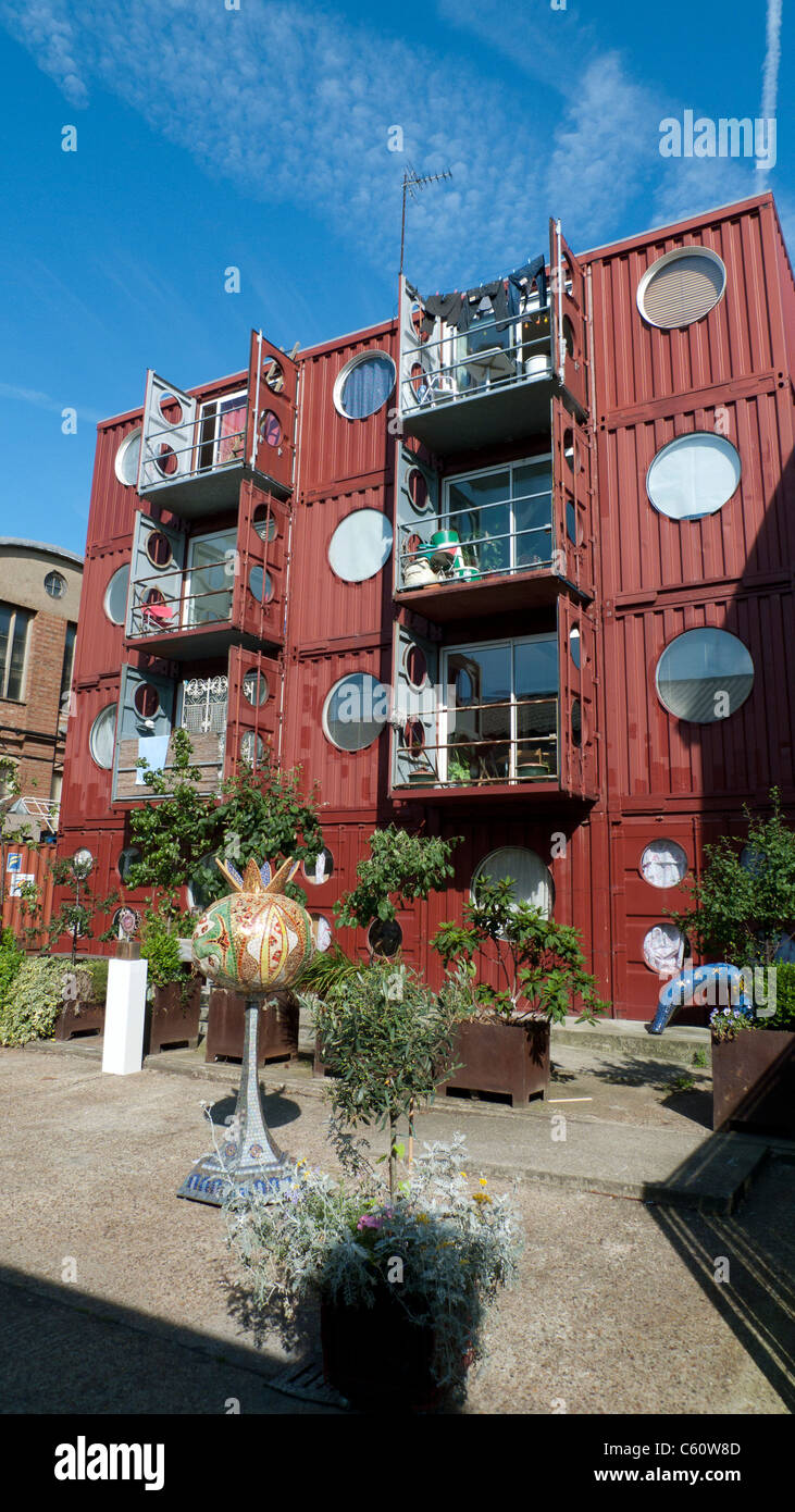 Back of Container City dwellings at Trinity Buoy Wharf, Docklands, London England UK  KATHY DEWITT - Stock Image