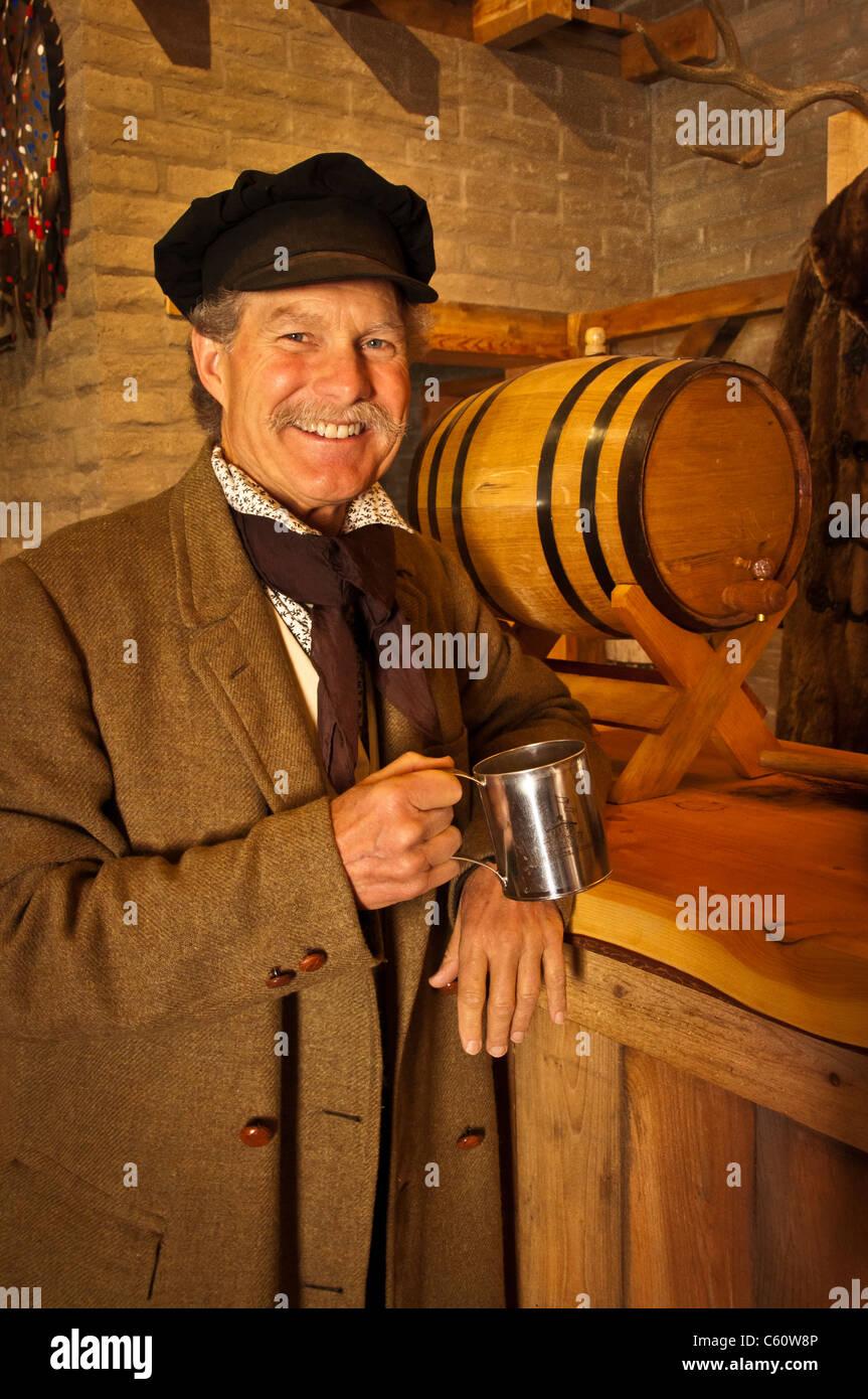 History interpreter, dressed as a clerk in the trade store at Fort Benton National Historic Landmark; Fort Benton, - Stock Image