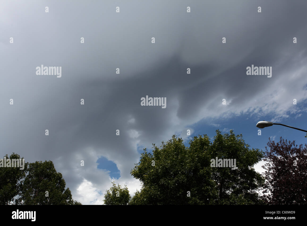 Strange dropping tube-like appendages of a strong thunderstorm, possible undulati. - Stock Image