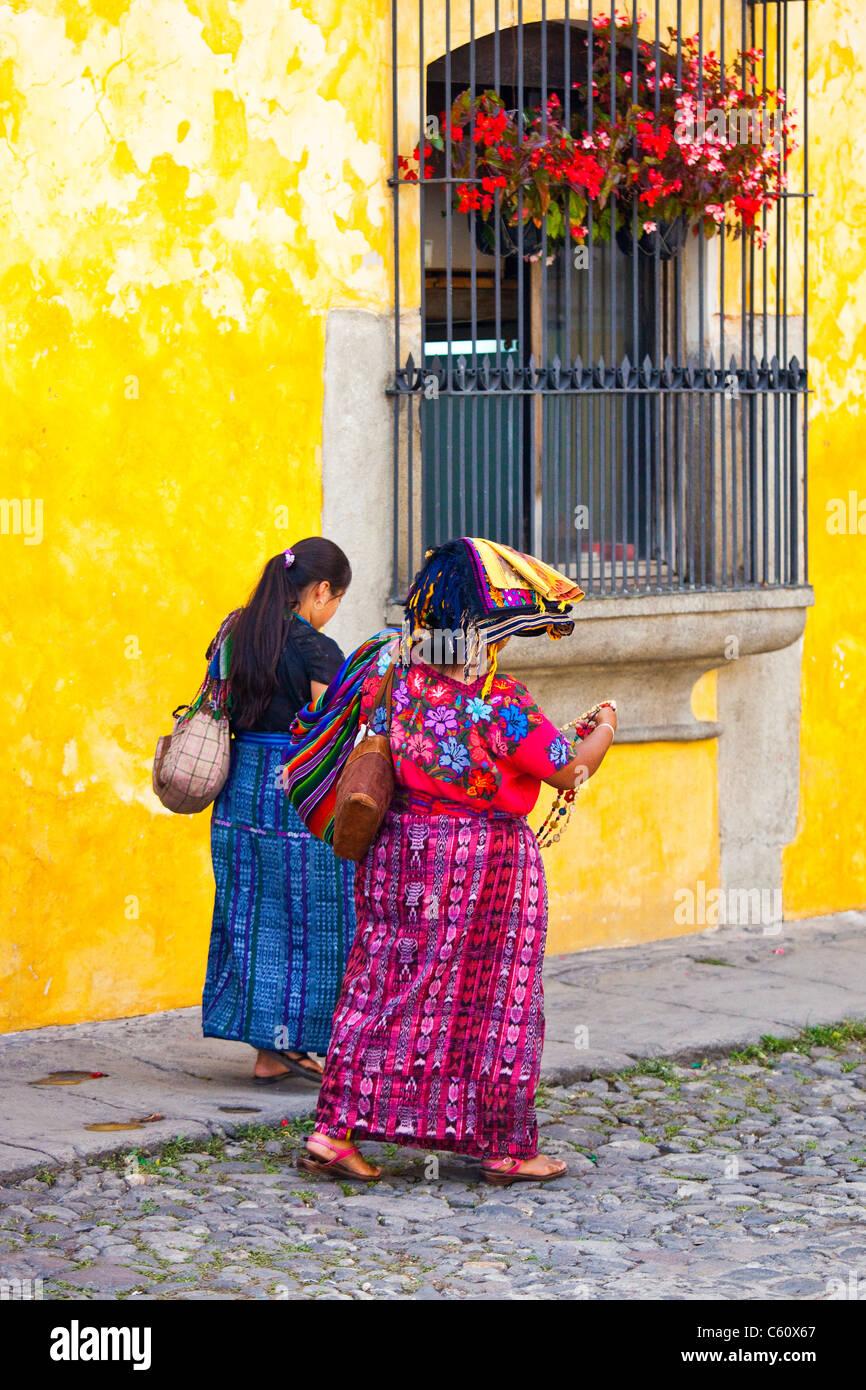 Indigenous women, Antigua, Guatemala - Stock Image