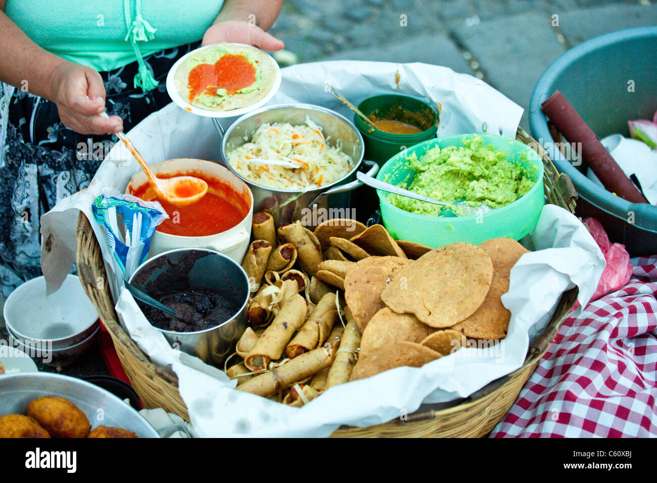 Street food, Antigua, Guatemala - Stock Image