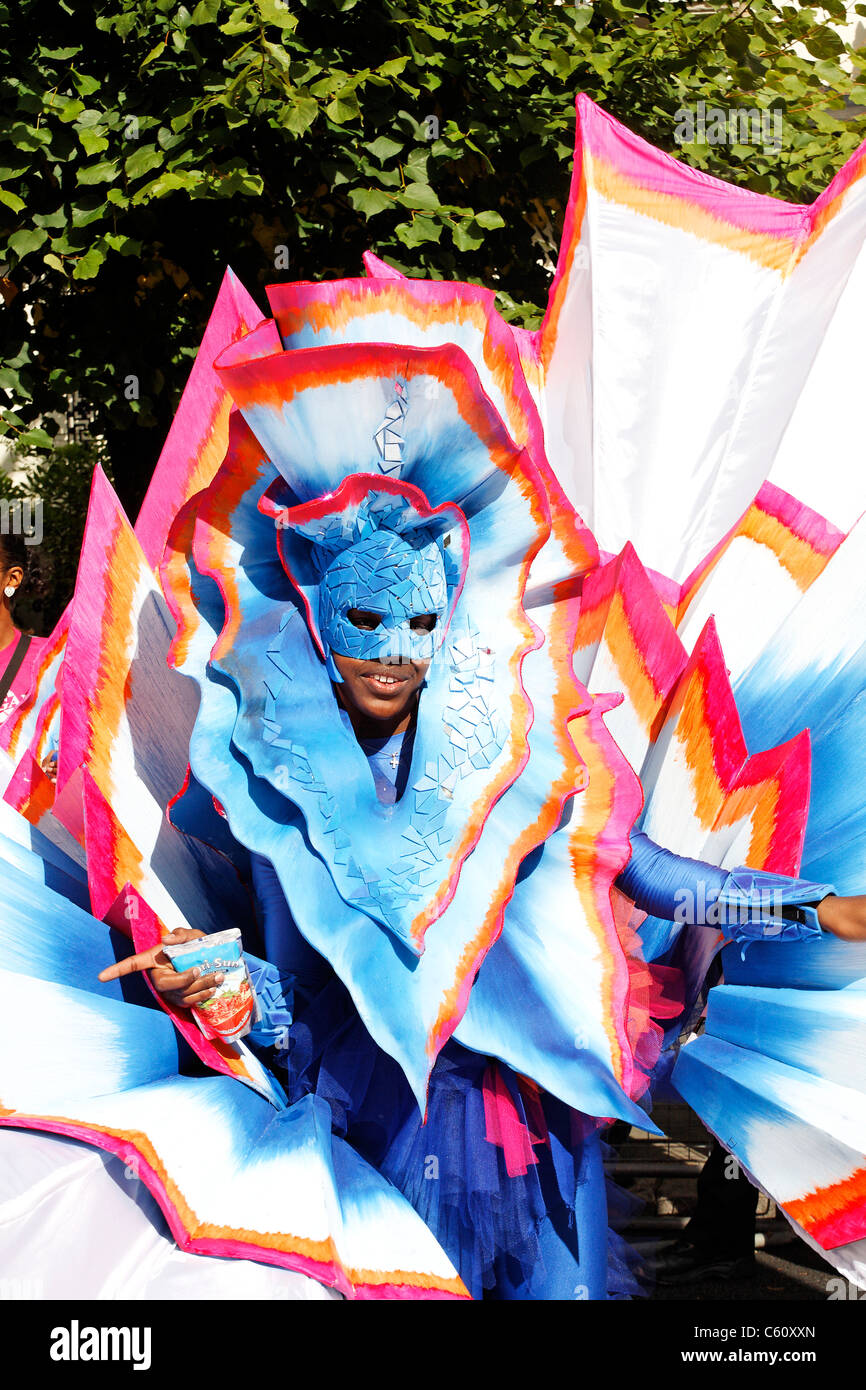 Performer in colourful costume at the 2006 Notting Hill Carnival, London, UK Stock Photo