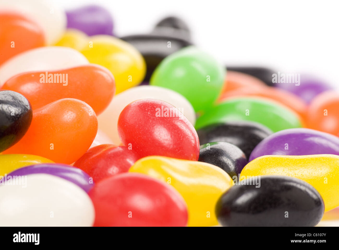 Colorful jellybeans close up shot - Stock Image
