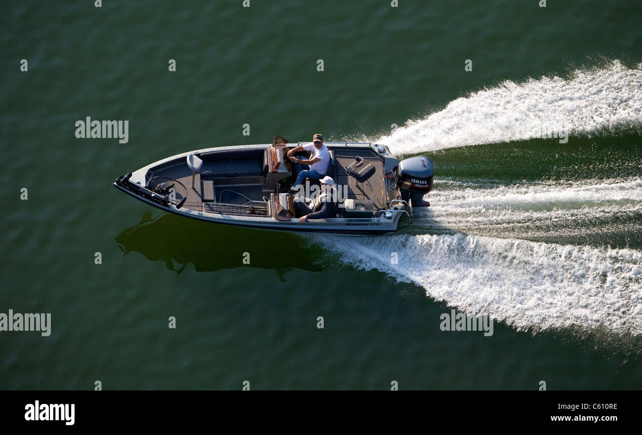 Aerial Photo Of Two Elderly Men Underway In A Small Bass Fishing Boat Stock Photo Alamy