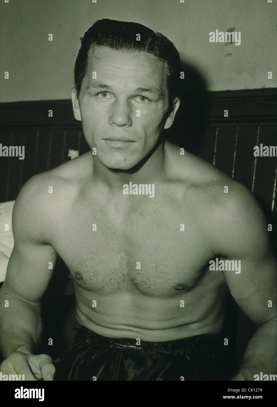 Tony Zale (1914-1997), two-time world middleweight champion. Zale was called the 'Man of Steel' for his - Stock Image