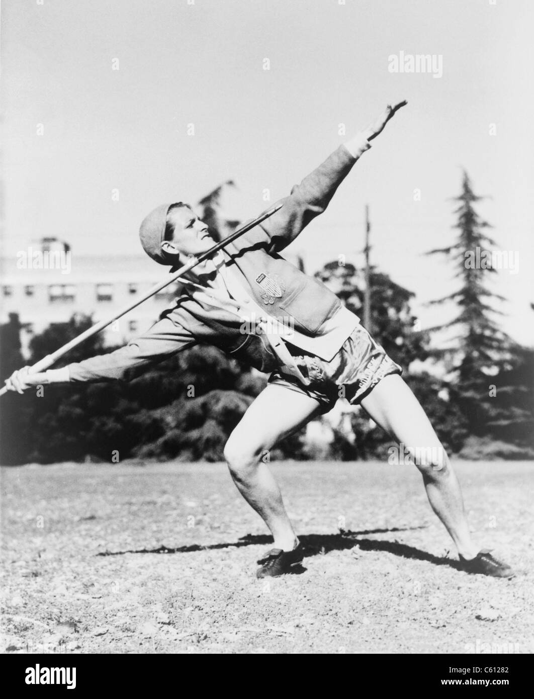 Mildred 'Babe' Didrikson, (1911-1956), winding up for javelin toss at the 1932 Olympics at Los Angeles. - Stock Image