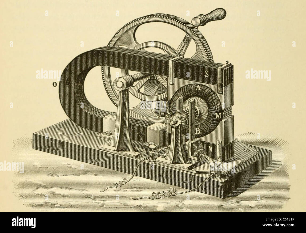 A hand cranked device onsisting of coiled metal wire and a magnet, demonstrate the principle elements of 19th and Stock Photo
