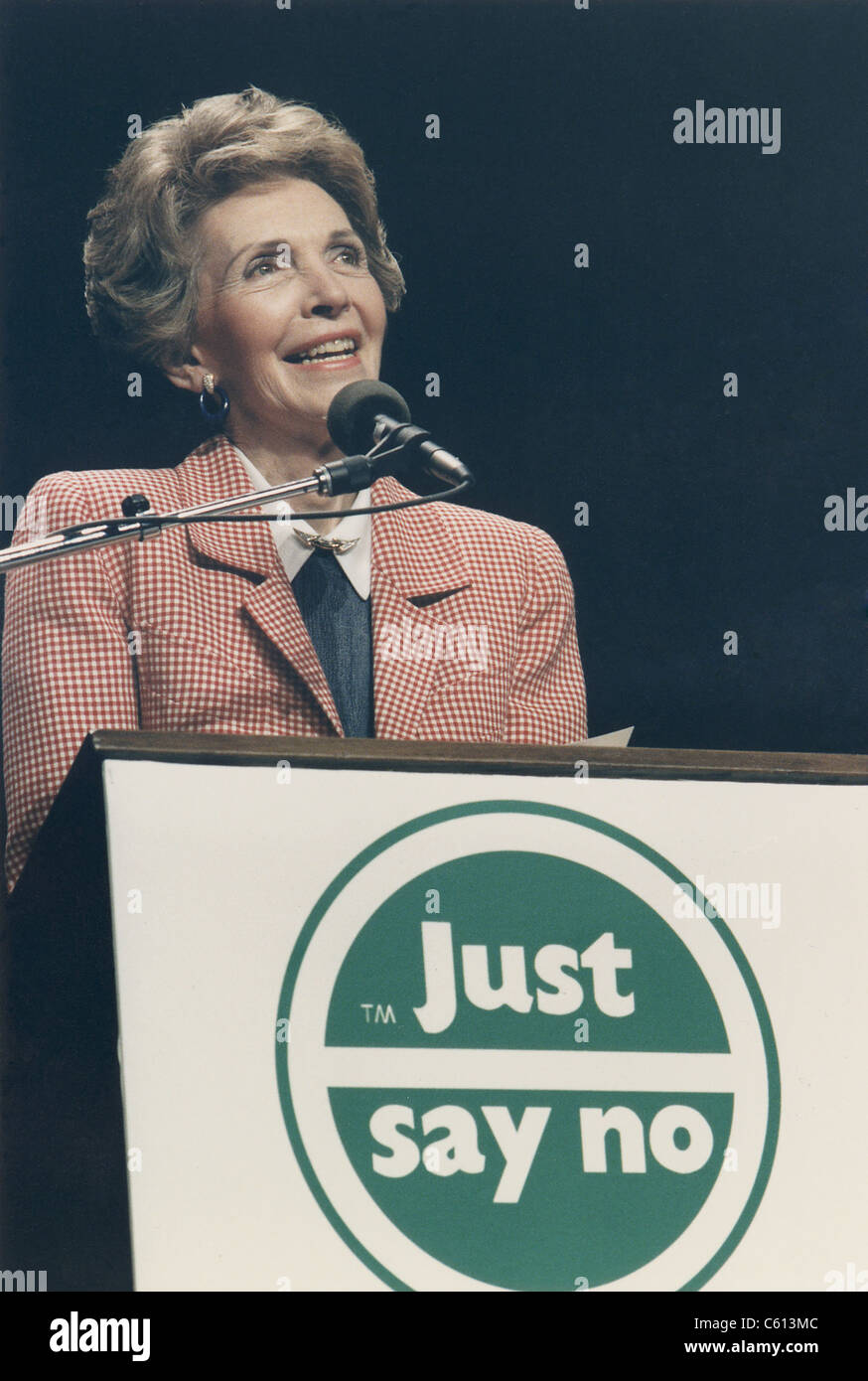 Nancy Reagan speaking at a 'Just Say No' Rally her anti-drug advocacy and education program. Los Angeles. - Stock Image