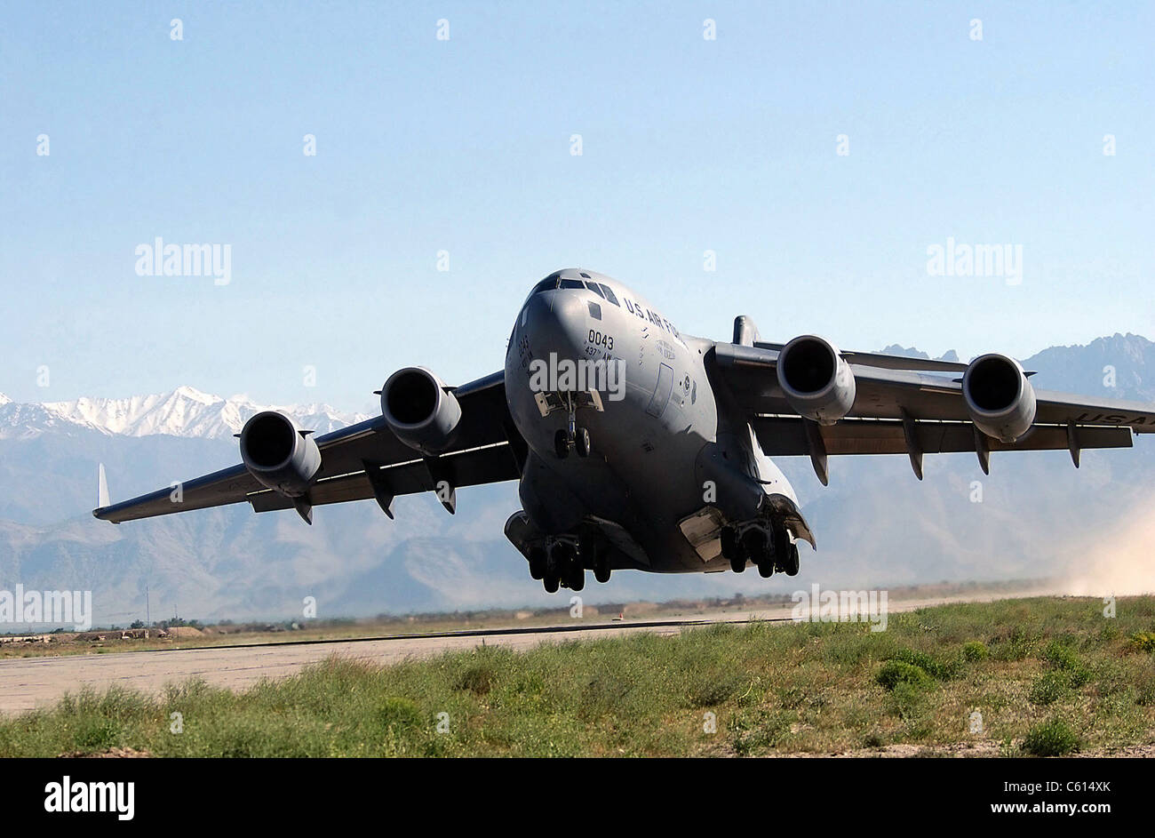 U.S. Air Force Globemaster transport aircraft takes off at Bagram Air Field Afghanistan. Bagram served as a Soviet - Stock Image