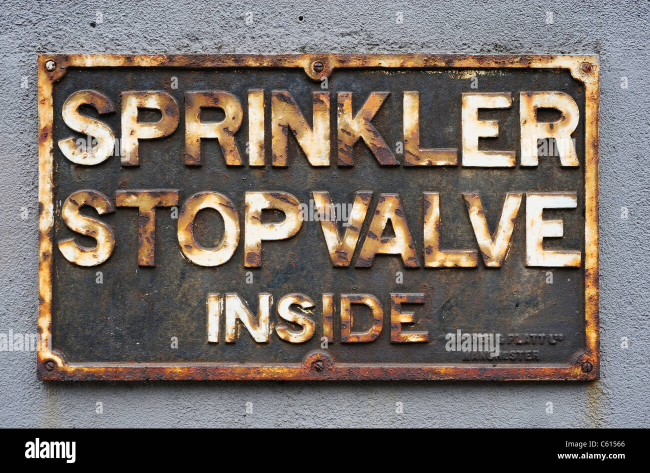 Rusted Sign - Manchester - Stock Image