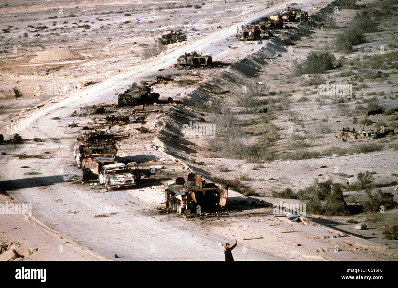 An Iraqi armored column destroyed in the Euphrates River Valley during Operation Desert Storm. Mar. 4 1991. (BSLOC - Stock Image