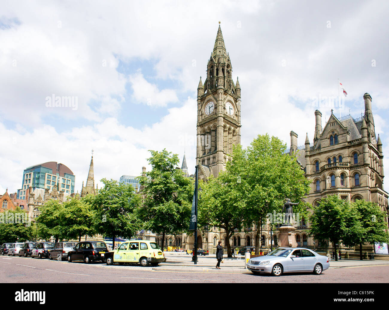 Manchester Town Hall, Manchester, England. The City Council's Victorian gothic style city hall seen across Albert - Stock Image