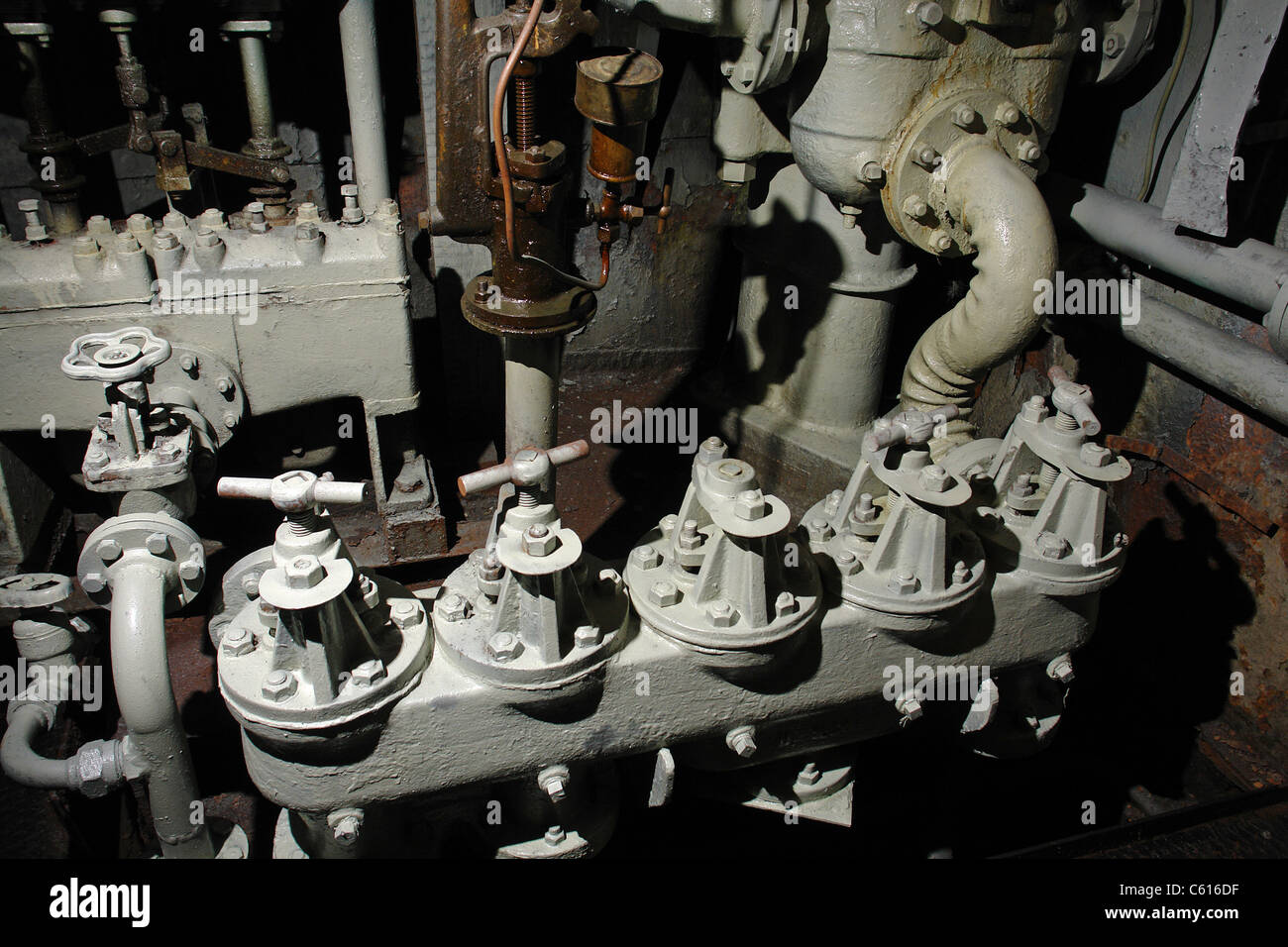 Steam Power Engine Based Ship Machinery Room - Stock Image