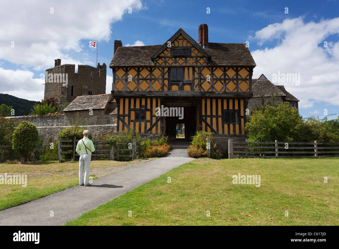 The beautiful Stokesay castle in Shropshire. One of the finest and best preserved fortified medieval manor houses Stock Photo