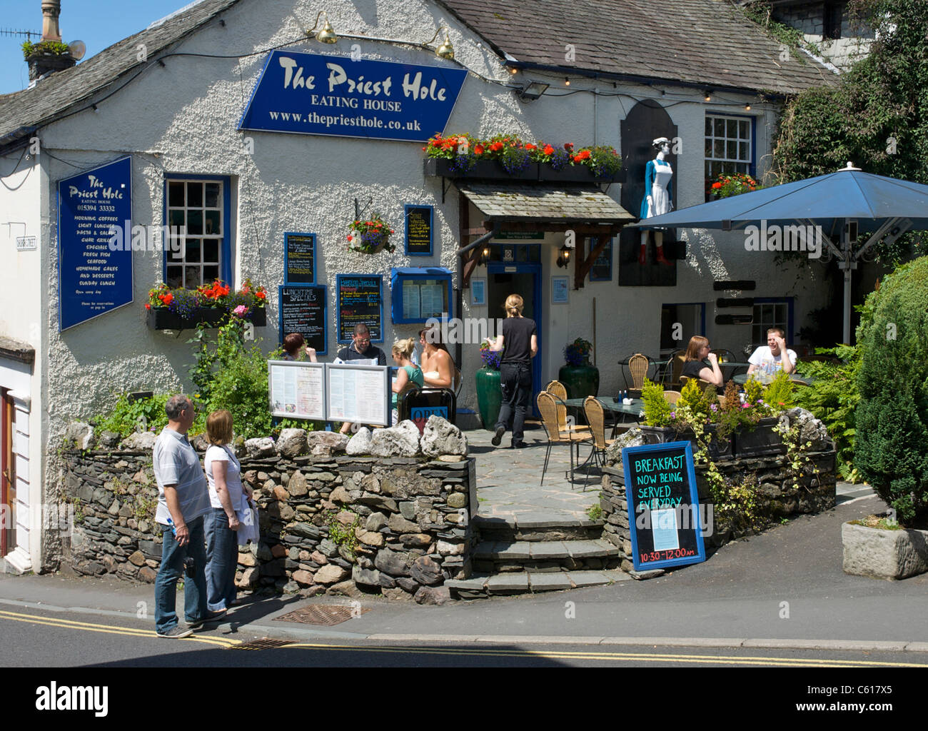The Priest Hole restaurant, Ambleside, Lake District National Park, Cumbria, England UK - Stock Image