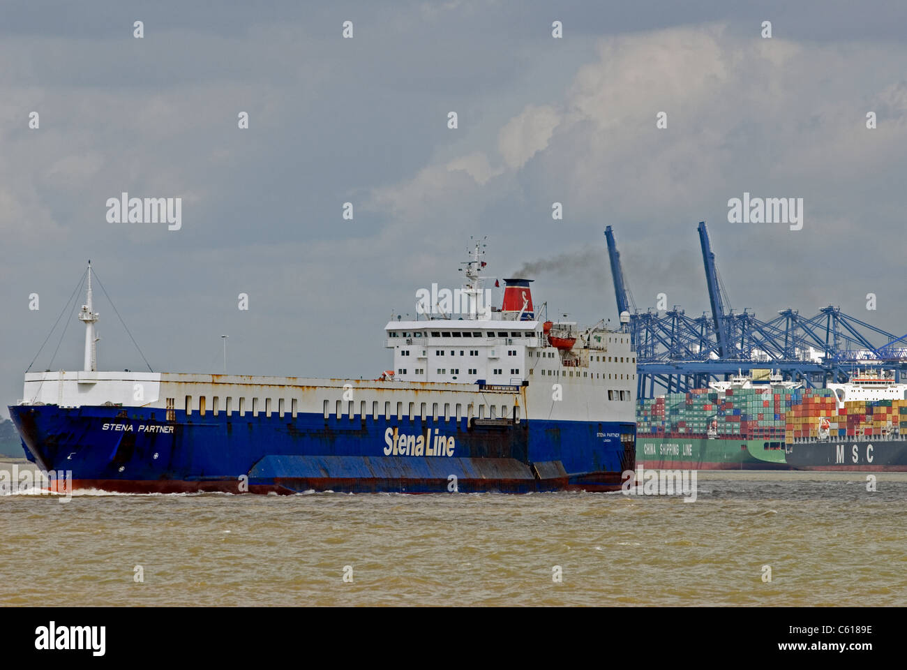 Stena Line Ro-Ro ferry leaving the port of Felixstowe, Suffolk, UK. - Stock Image