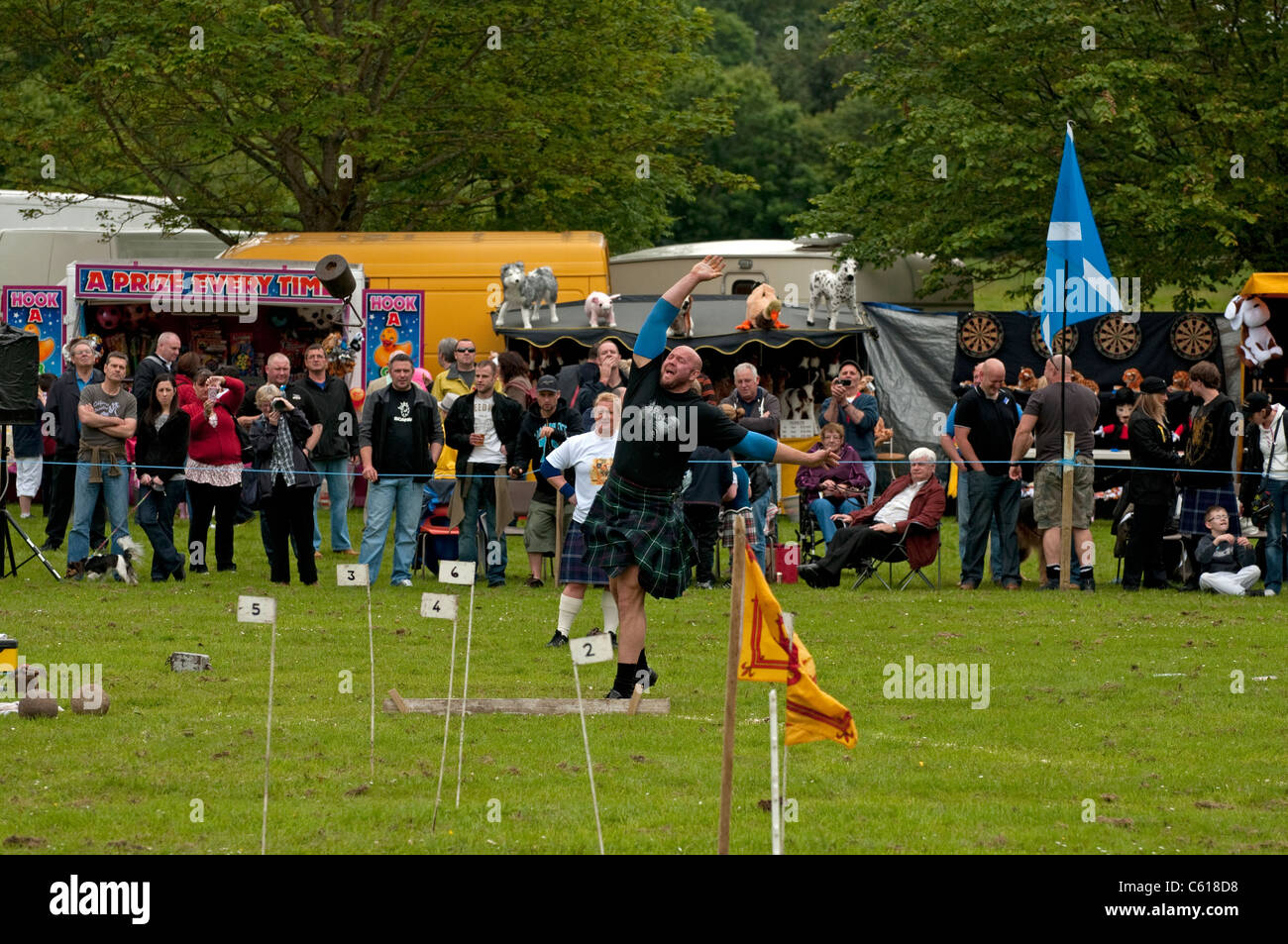 Heavy hammer throwing at Chatelherault Highland Games, Hamilton, Lanarkshire, Scotland, United Kingdom, Western - Stock Image