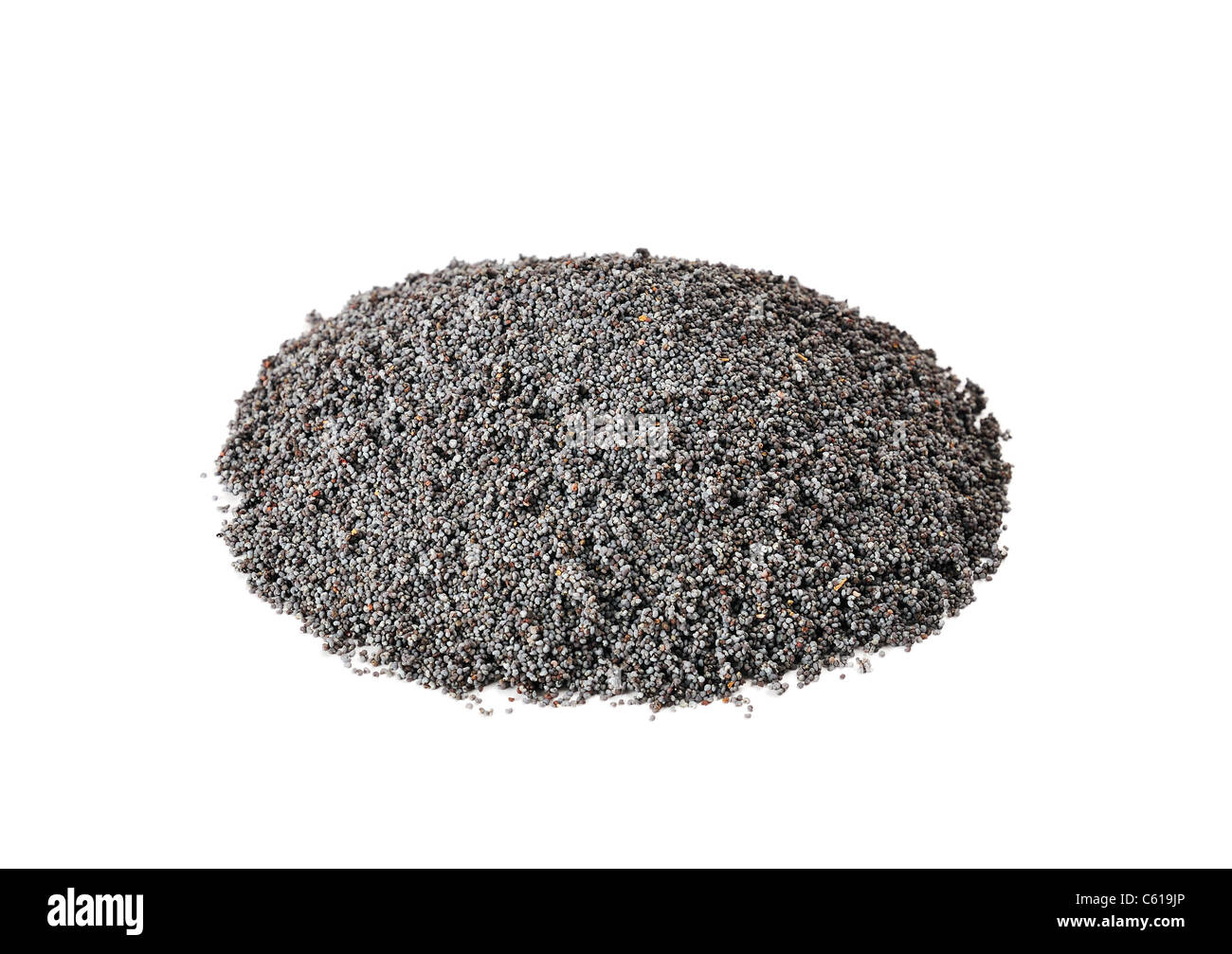 poppy seeds on a white background - Stock Image