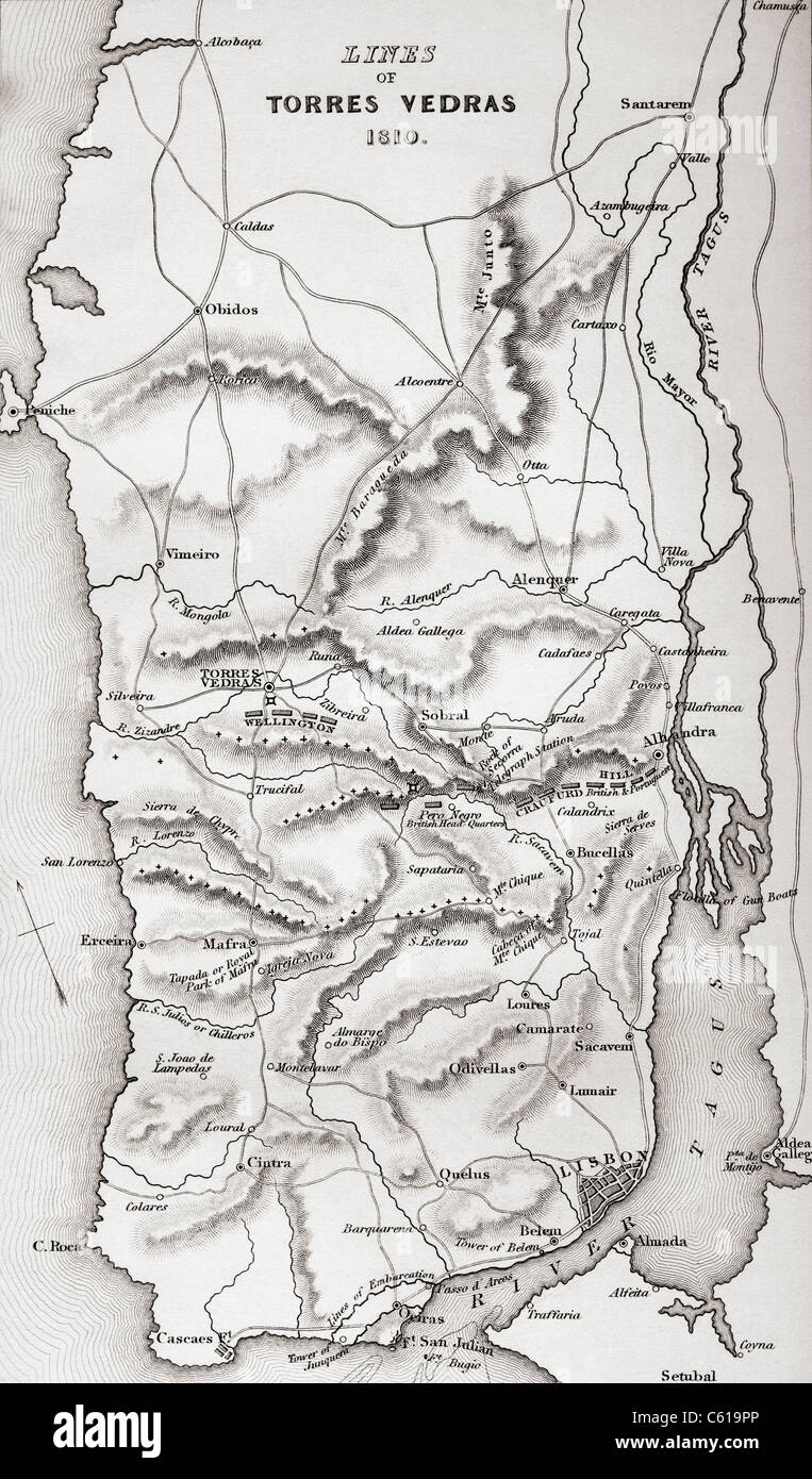 Map of the Lines of Torres Vedras, Portugal, 1810. - Stock Image