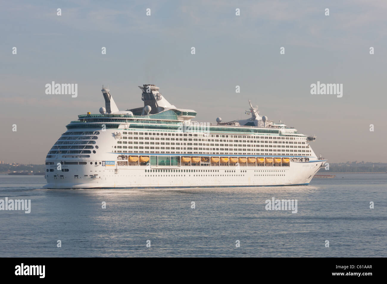 Royal Caribbean cruise ship Explorer of the Seas in New York Harbor. - Stock Image