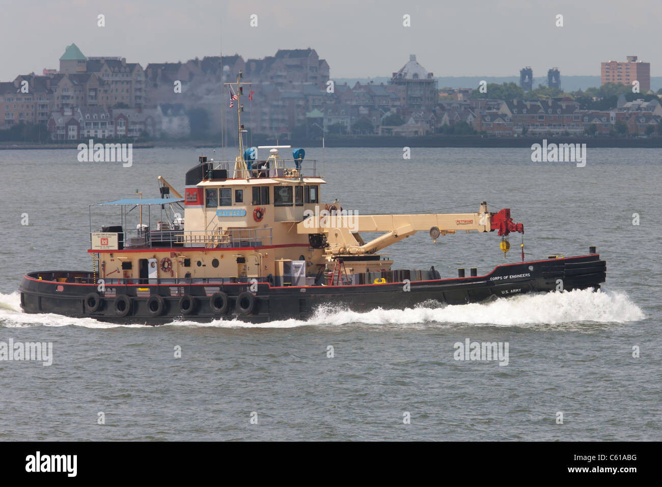 US Army Corps of Engineers drift collection vessel Hayward in New York Harbor. - Stock Image
