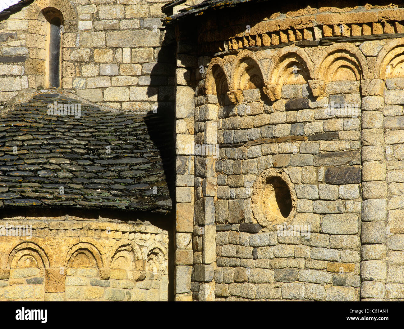 Sant Climent de Taüll World Heritage romanesque church in Vall de Boí Alta Ribagorça, Cataluña, - Stock Image