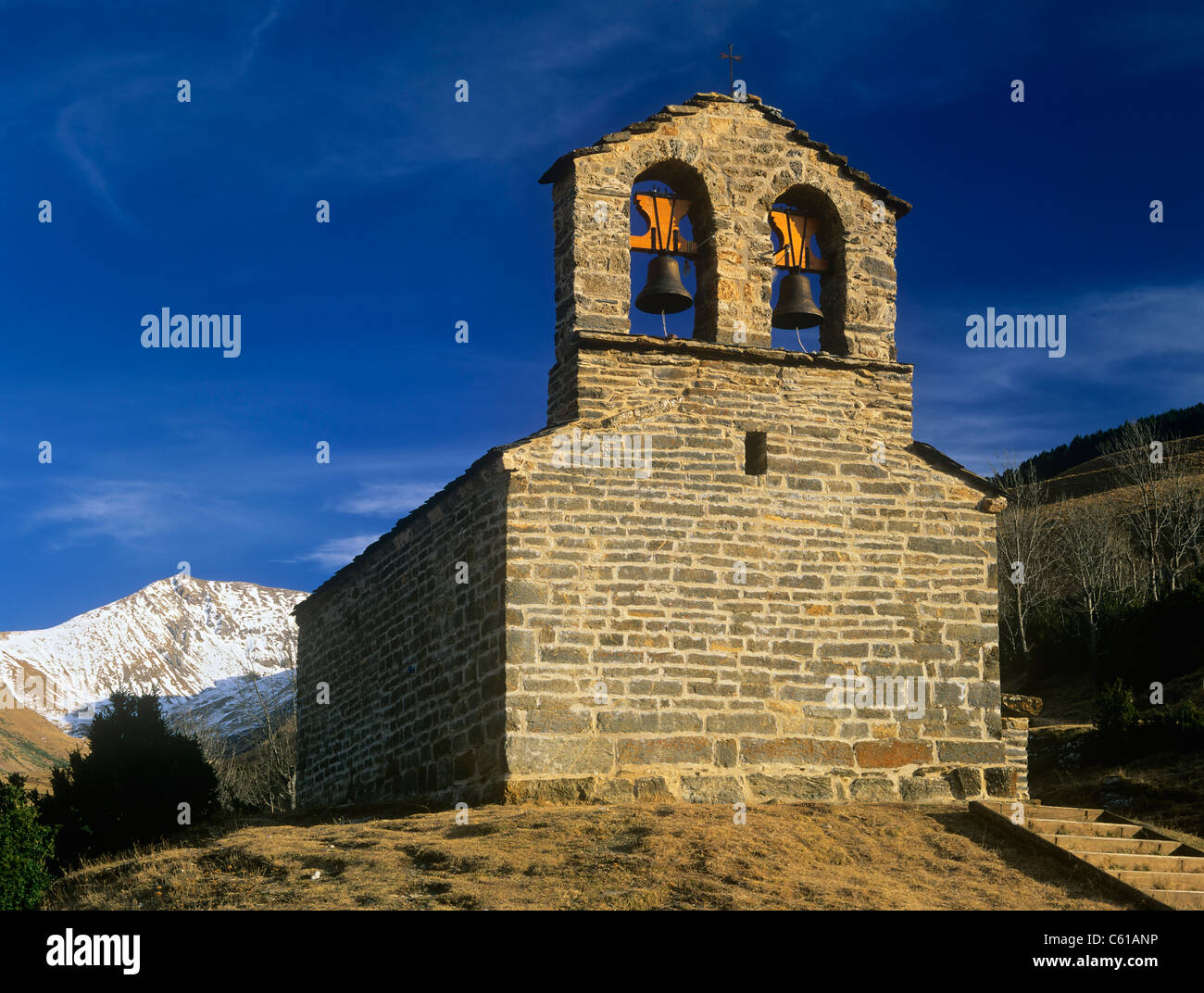 Sant Quirc World Heritage romanesque church in Durro Boi valley Pyrenees Spain - Stock Image