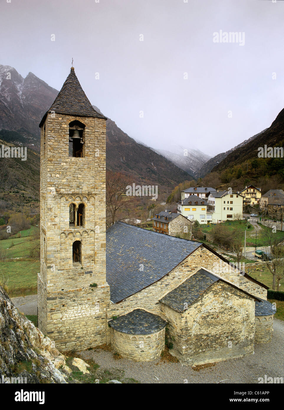 Sant Joan de Boi World Heritage romanesque church in Boi valley Catalonia Pyrenees Spain - Stock Image