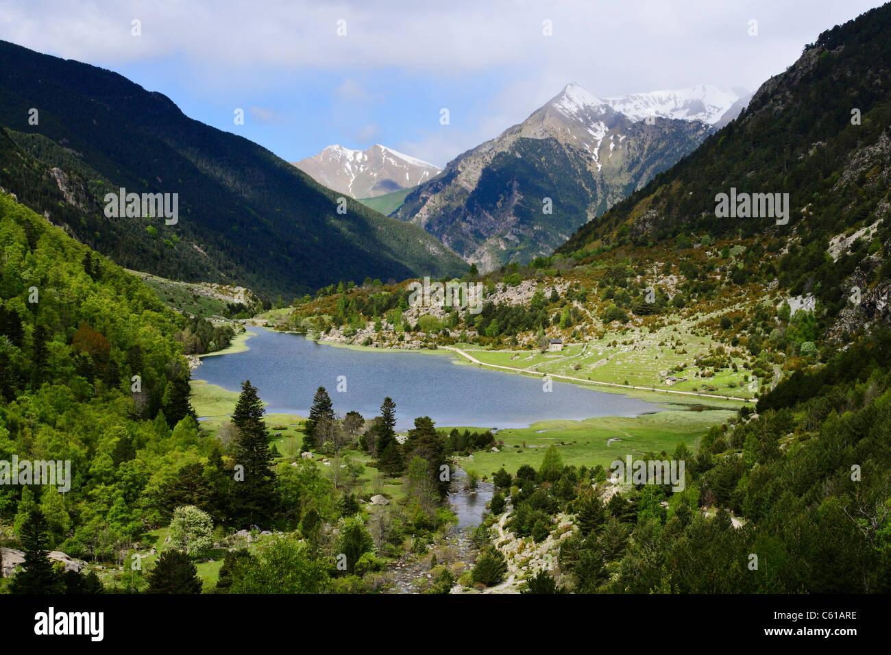 Estany de la Llebreta in Aiguestortes i Estany de Sant Maurici, National Park in the Pyrenees mountains Spain - Stock Image