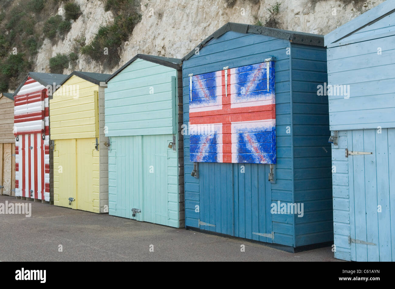 British Union Jack decorated beach Hut, Broadstairs Kent UK - Stock Image