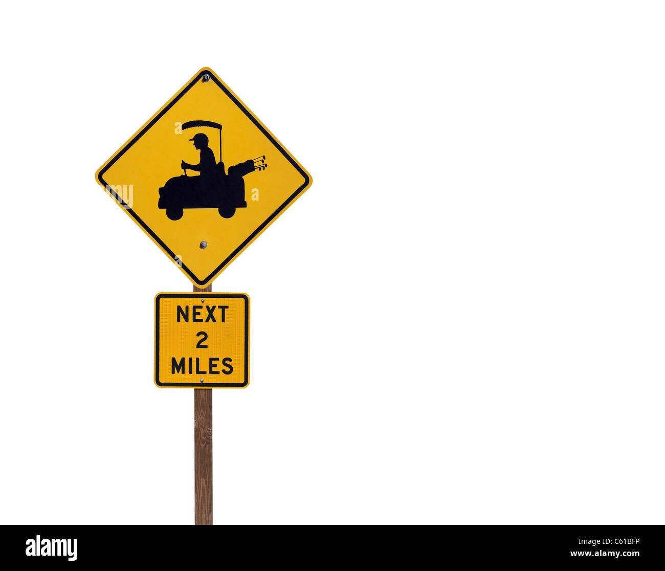 Golf cart crossing sign isolated on white. - Stock Image