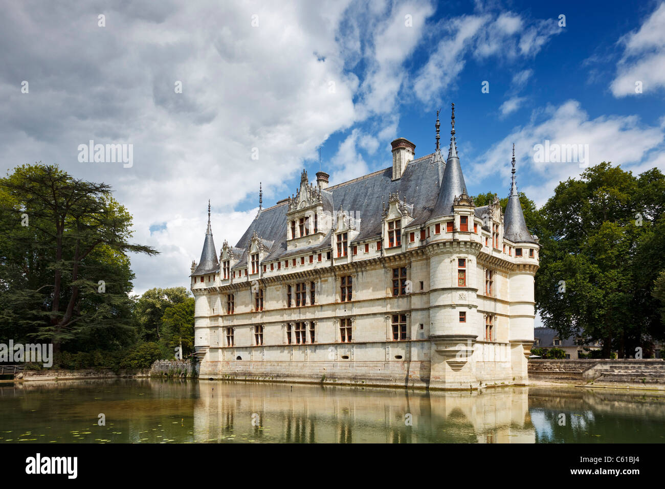 Chateau at Azay le Rideau, Indre et Loire, France, Europe - Stock Image