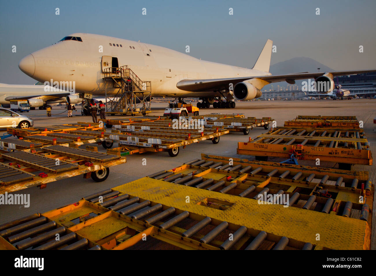 Cargo Plane chek lap kok airport freight - Stock Image