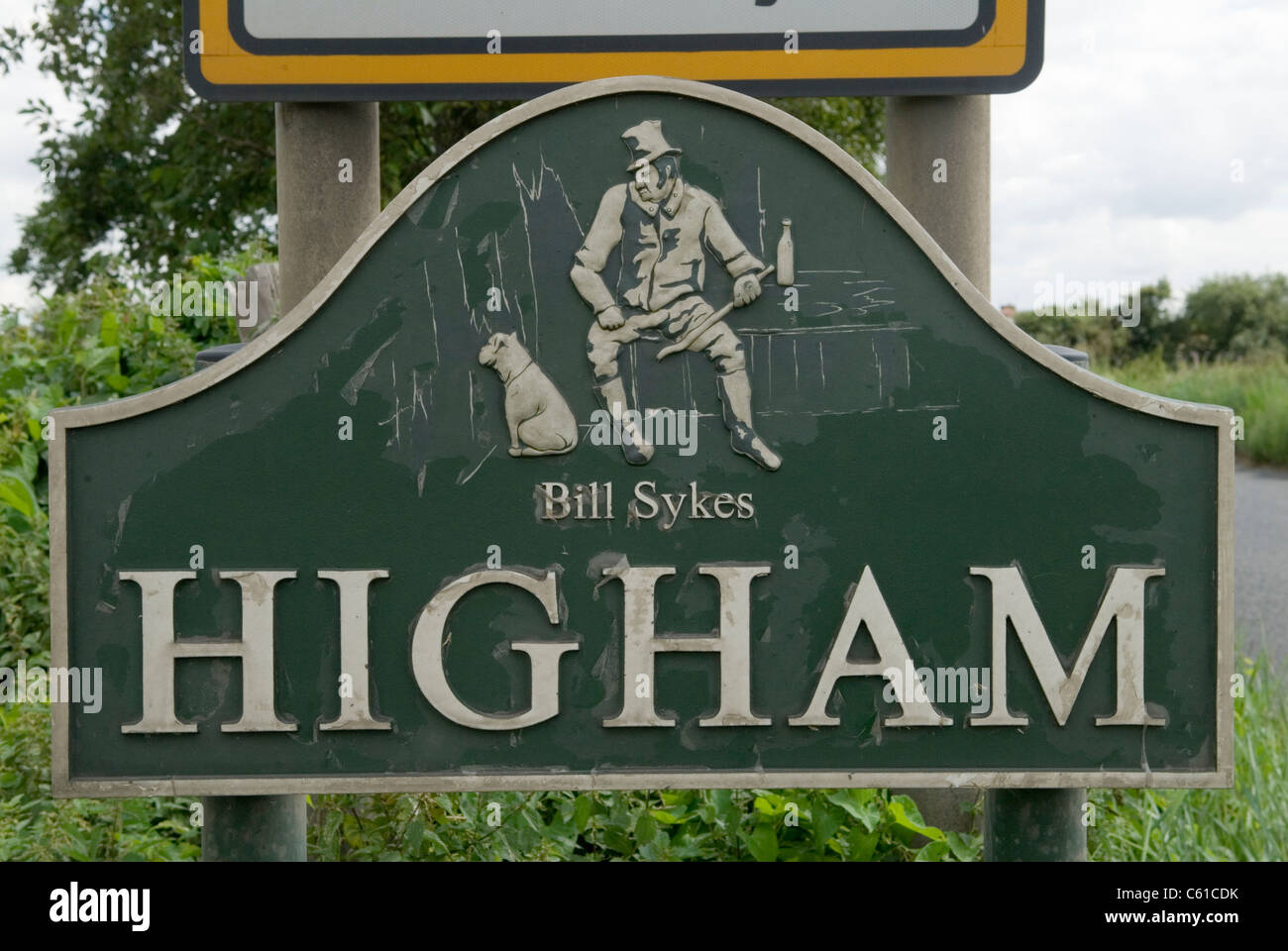 Higham Kent, UK. Charles Dickens lived here in Gads Hill Place House. Bill Sykes sign entering the village. - Stock Image