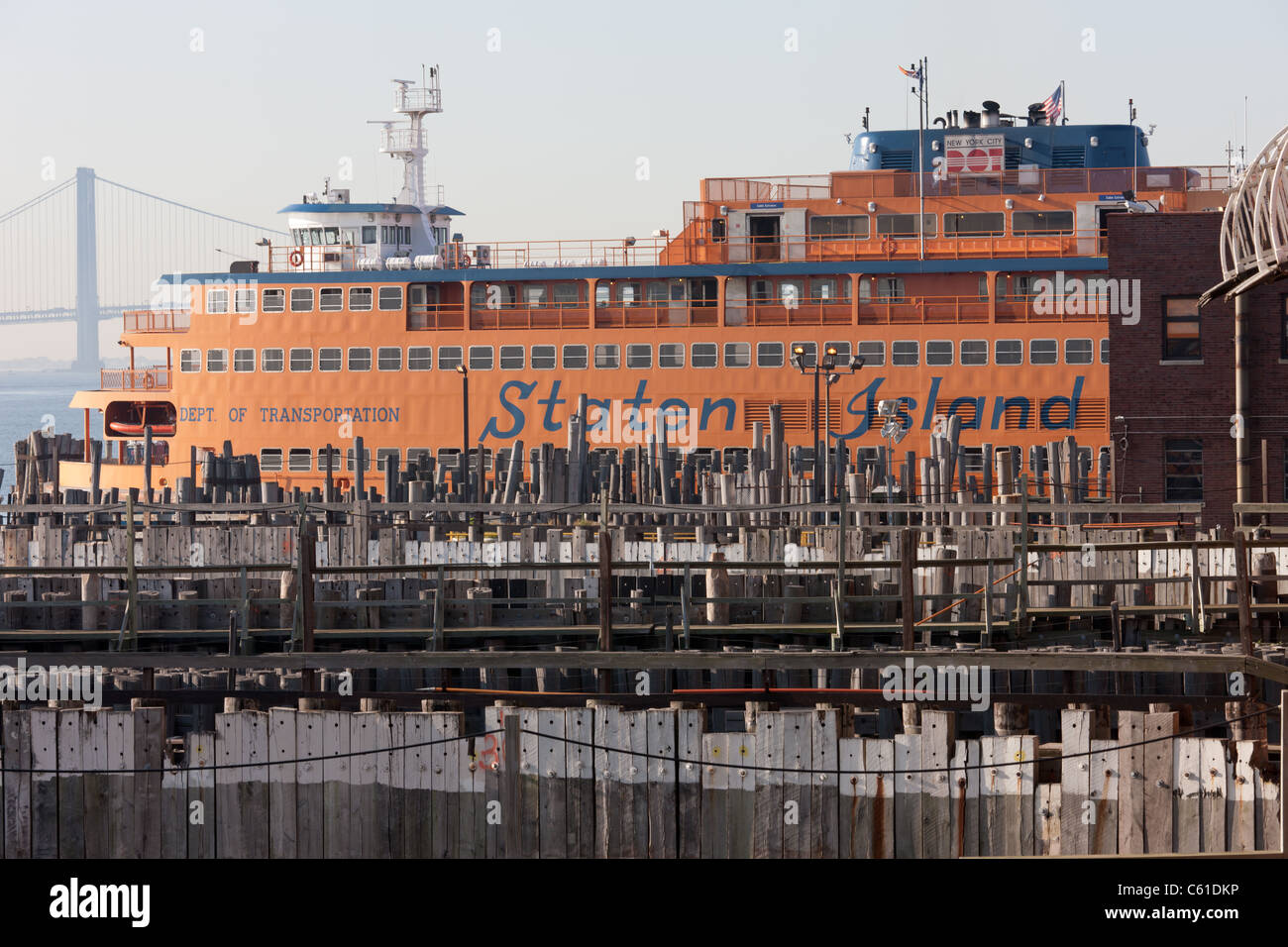 One of the boats of the Staten Island Ferry fleet docked at St. George Ferry Terminal in Staten Island, New York. - Stock Image