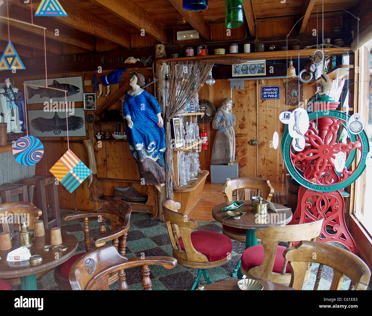 Interior room with collections of Pablo Neruda,Isla Negra,Chile - Stock Image